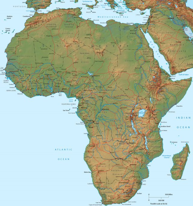 Africa physical map from geographicguide 1