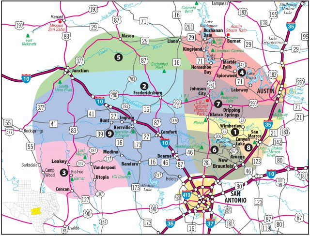 Hill country texas map from hill country visitor 1