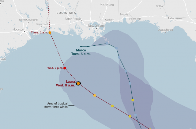 Hurricane laura map from nytimes 1