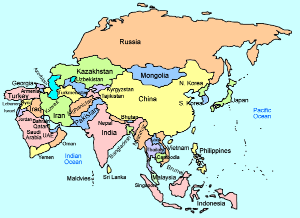 Map Of Asia Countries
