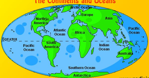 Map Of Continents And Oceans