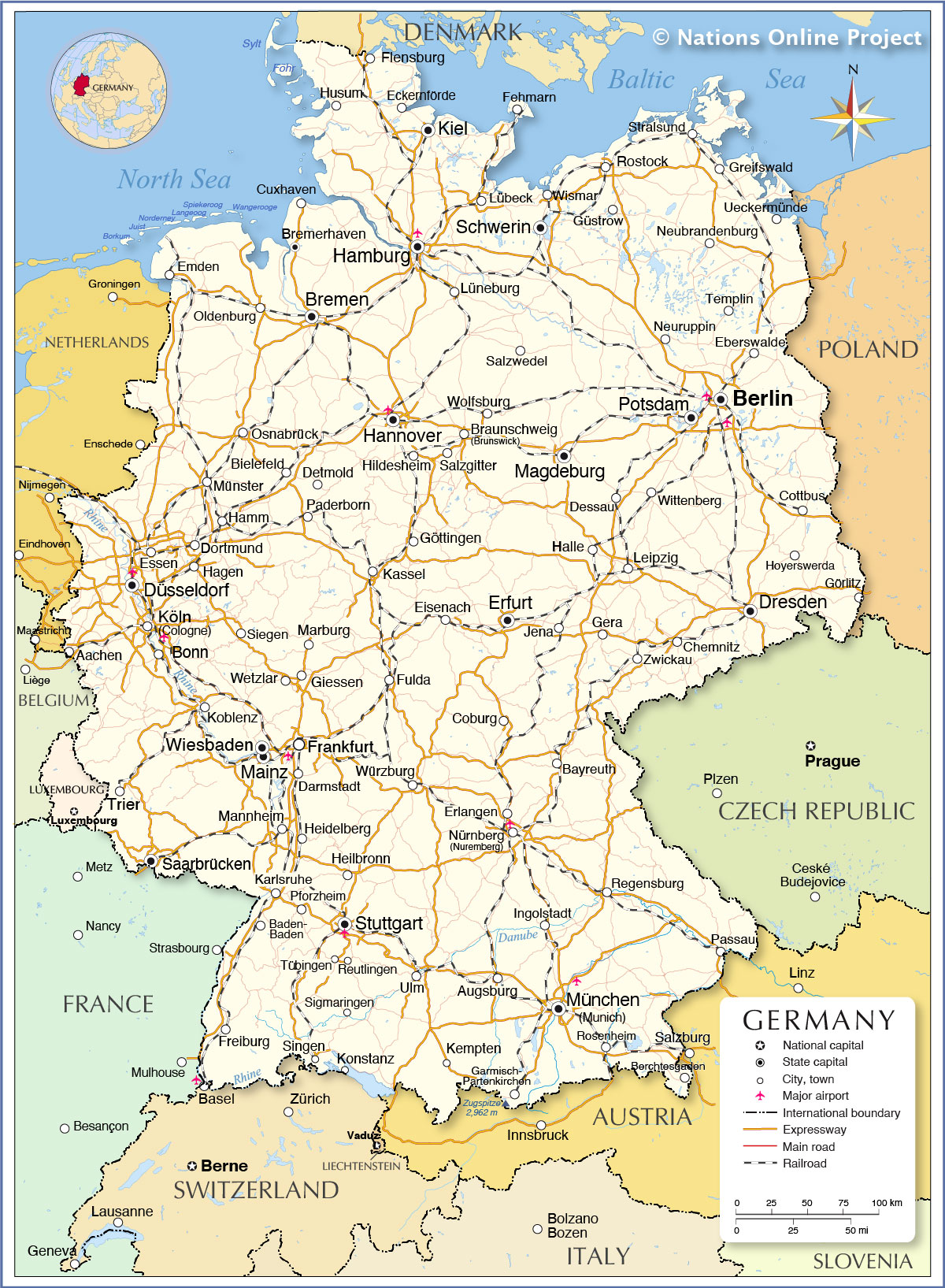 Map Of Germany From Nationsonline 1