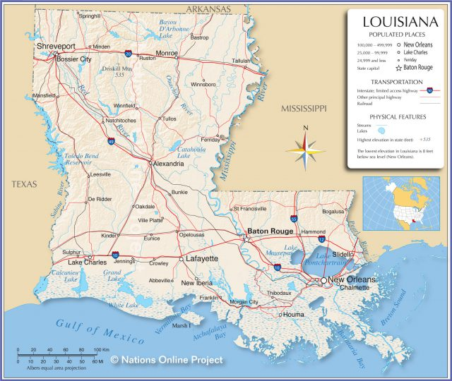Map of louisiana from nationsonline 1