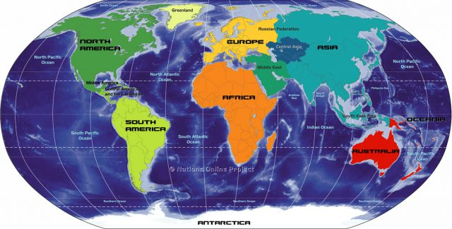 Map of the continents from nationsonline 1