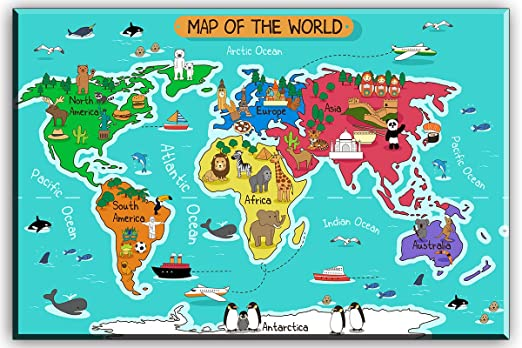 Map of the world for kids from amazon 1