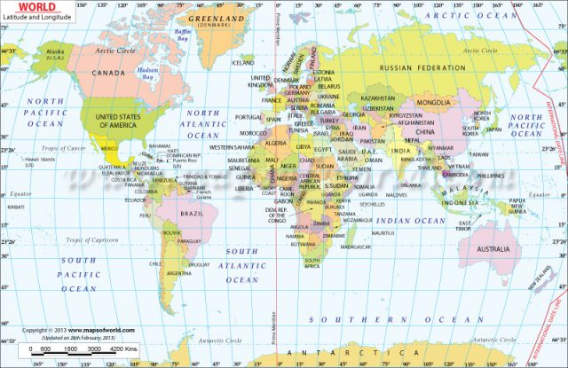 Map Of The World With Latitude And Longitude Lines