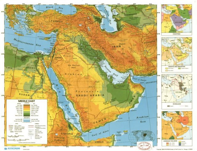 Middle East Physical Map