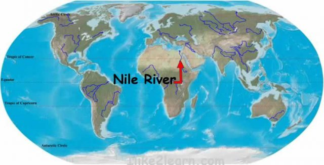 Nile river on world map from pinterest 1