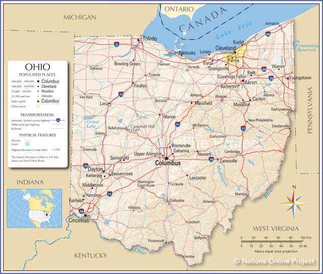 Ohio state map from nationsonline 1