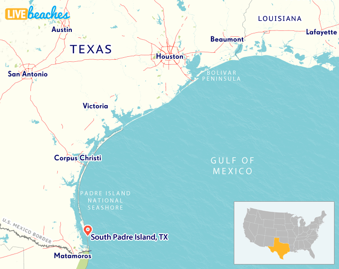 Padre Island Map From Livebeaches 3