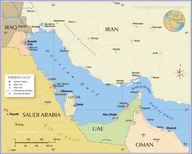Persian gulf on world map from nationsonline 2
