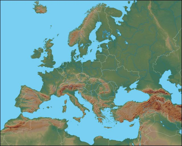 Physical map of europe from geology 1