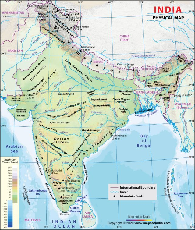 Physical map of india from mapsofindia 1