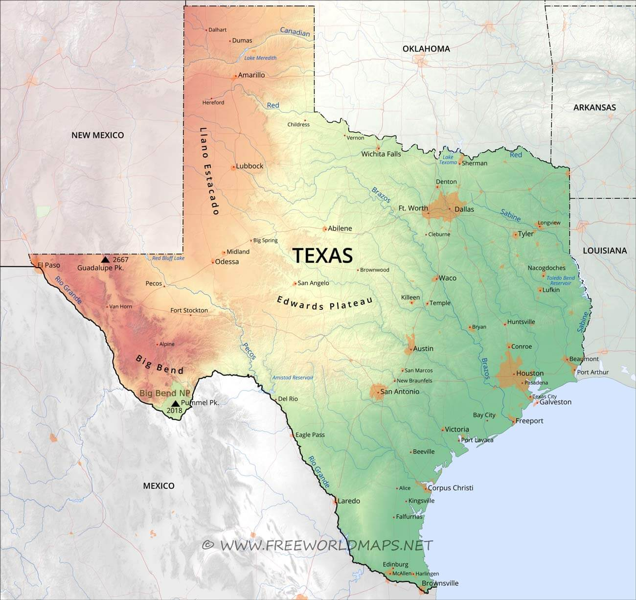 Physical Map Of Texas From Businessideasfor2013 1