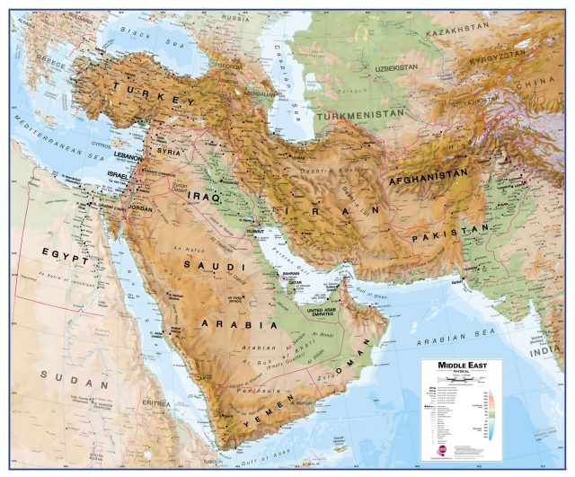 Physical Map Of The Middle East