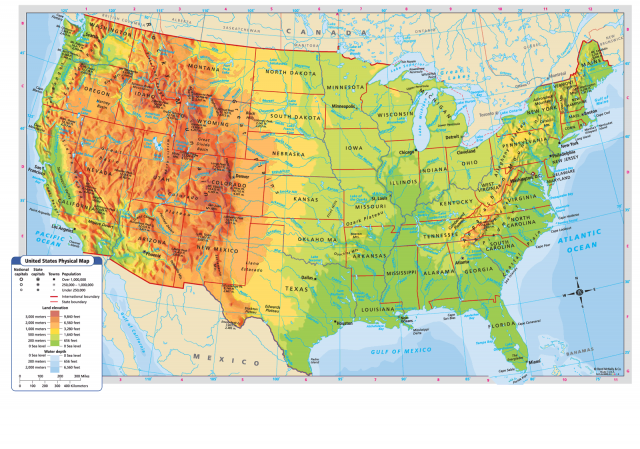 Physical Map Of United States