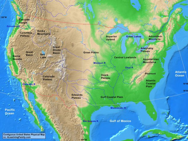 Physical Map Of Usa