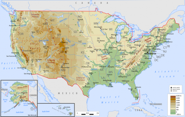 Physical map of usa from worldatlas 1