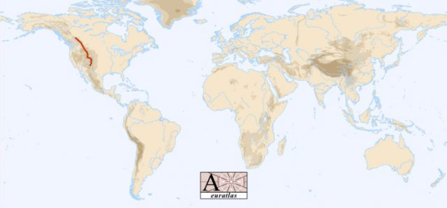 Rocky mountains on world map from euratlas 1