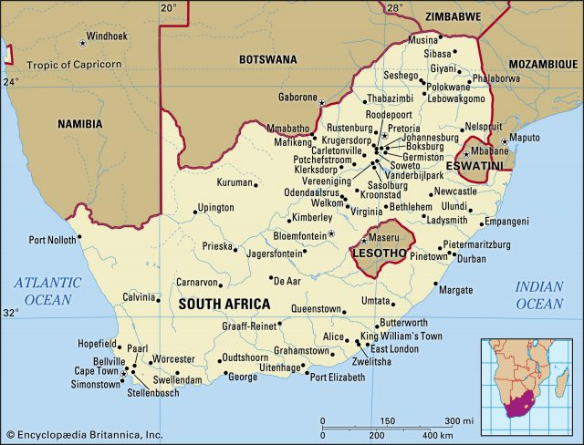 South africa map from britannica 1