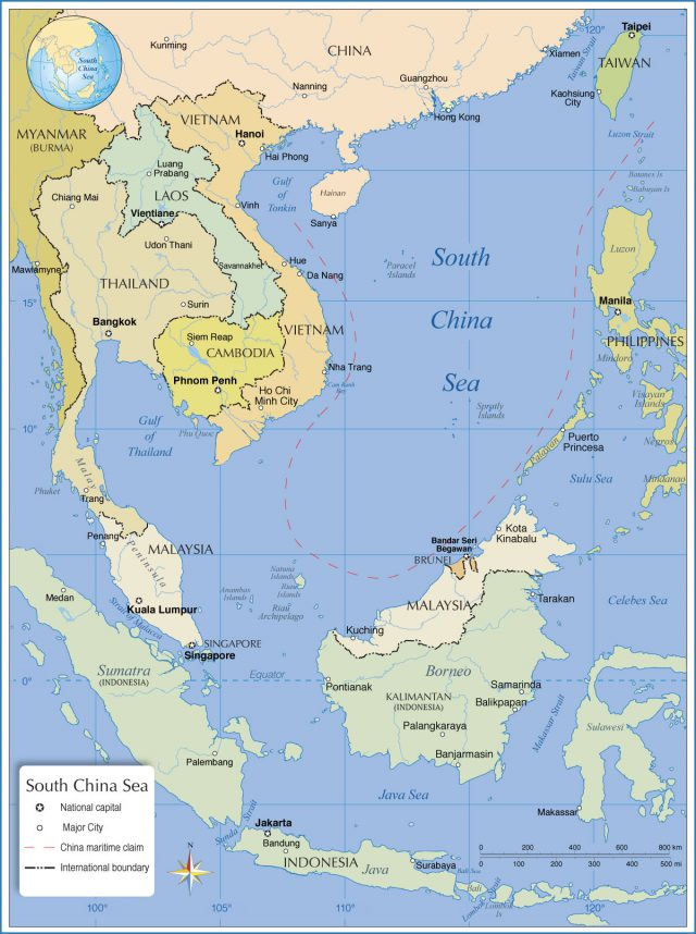 South china sea on world map from nationsonline 1