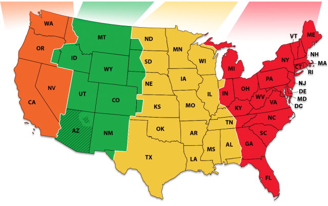 Time zone map from time 1