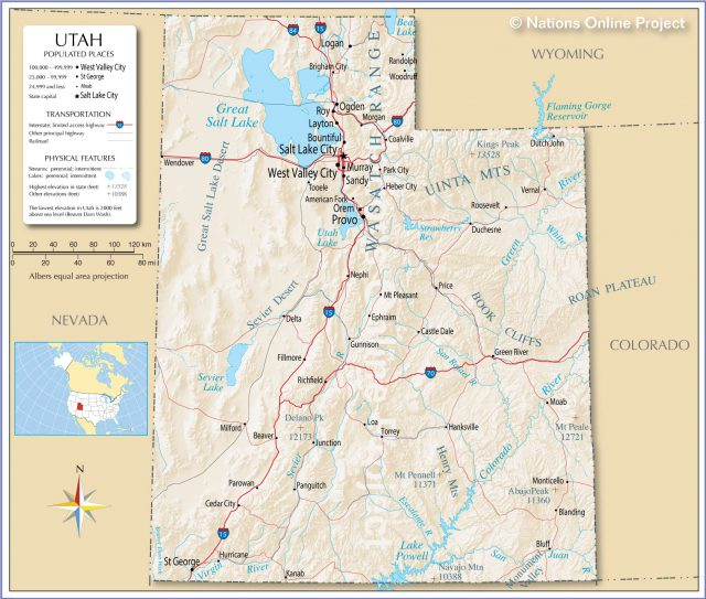 Utah Physical Features Map