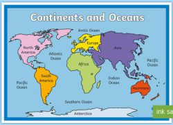 World map labeled oceans from twinkl 10
