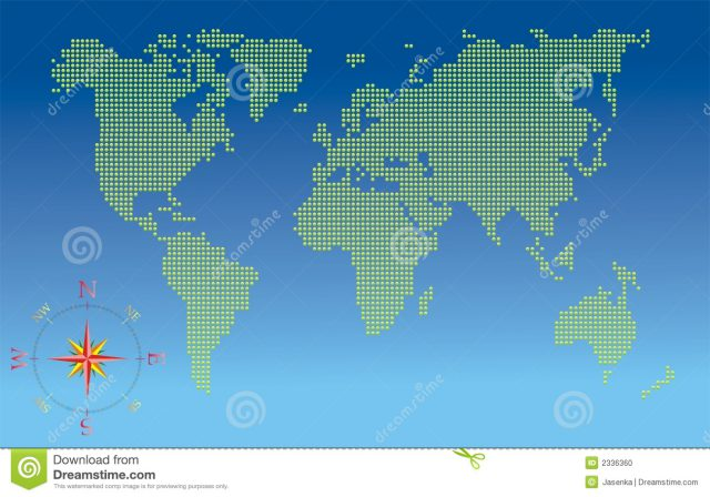 World map with compass from dreamstime 1