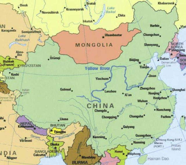 Yellow River On World Map