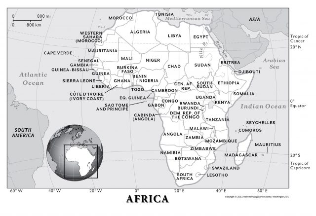 Africa Physical Features Map