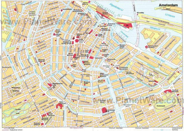 Amsterdam tourist map from planetware 1