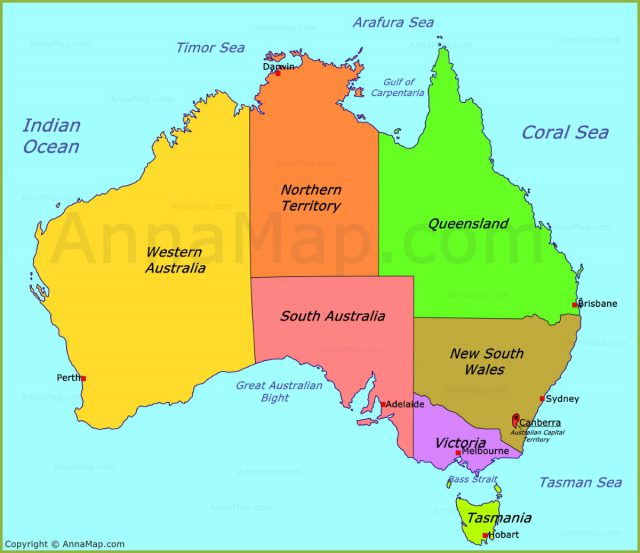 Australia political map from annamap 2