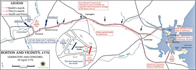 Battle of lexington and concord map from emersonkent 1