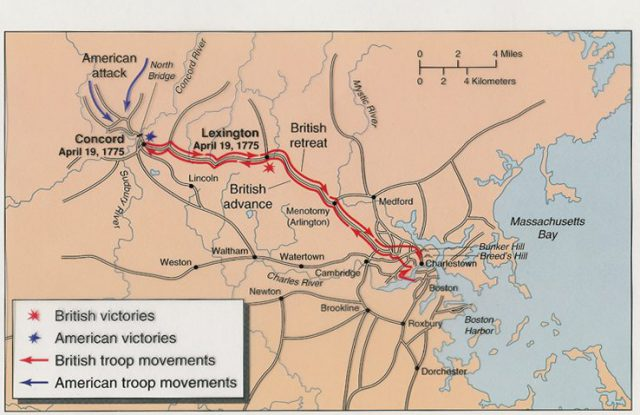 Battle Of Lexington And Concord Map
