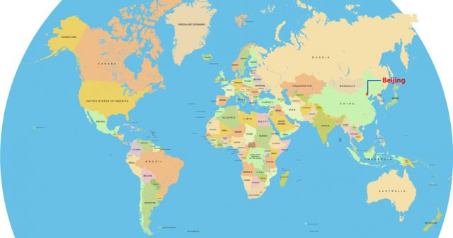 Beijing on world map from chinadiscovery 1