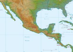 Central america physical map from maps world 2