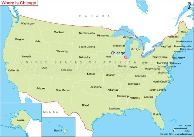 Chicago on us map from whereig 1