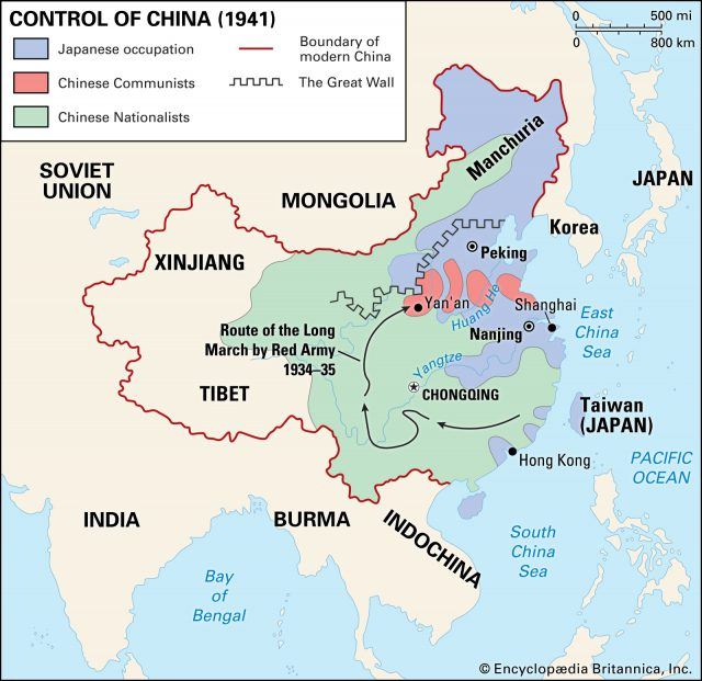 Chinese civil war map from britannica 1