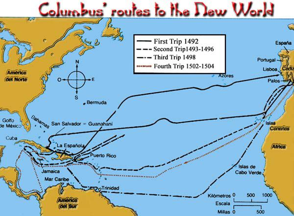 Christopher Columbus Route Map