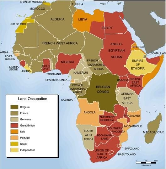Colonial map of africa from pinterest 1
