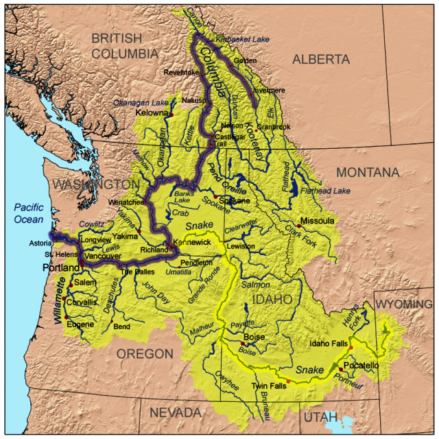 Columbia River On Map