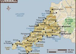 Cornwall Map: Cornwall map from lonelyplanet 1