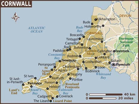 Cornwall map from lonelyplanet 1