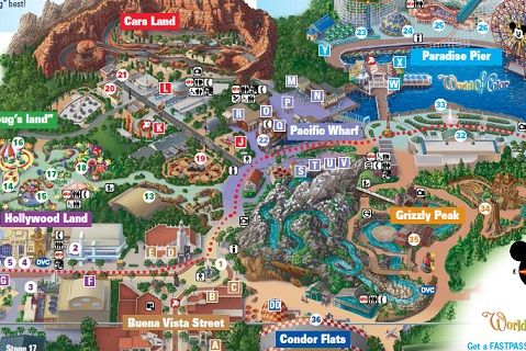 Disney california adventure map 2020 from pinterest 2