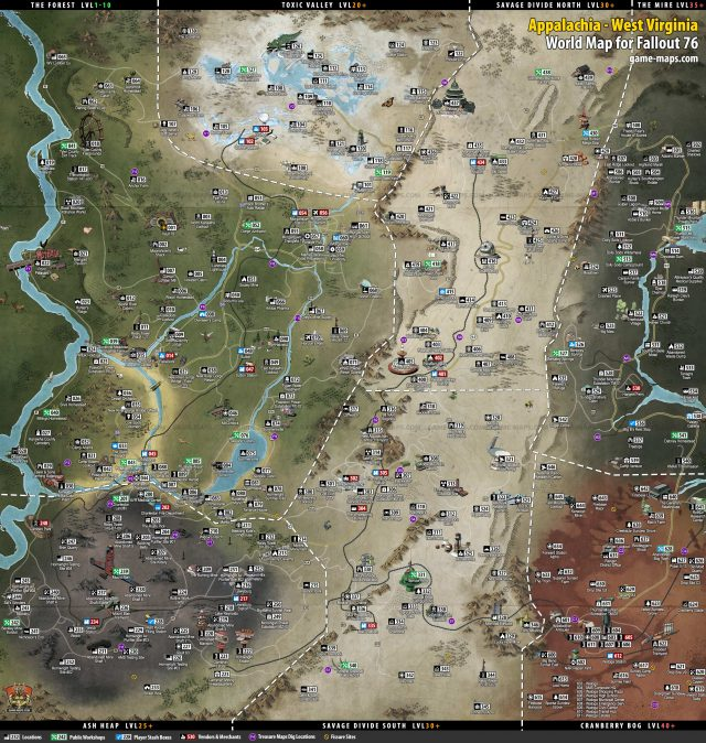 Fallout 76 map from game maps 1