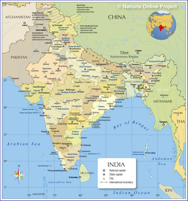 Indian political map from nationsonline 1