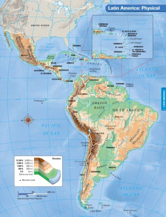 Latin america physical map from pinterest 1