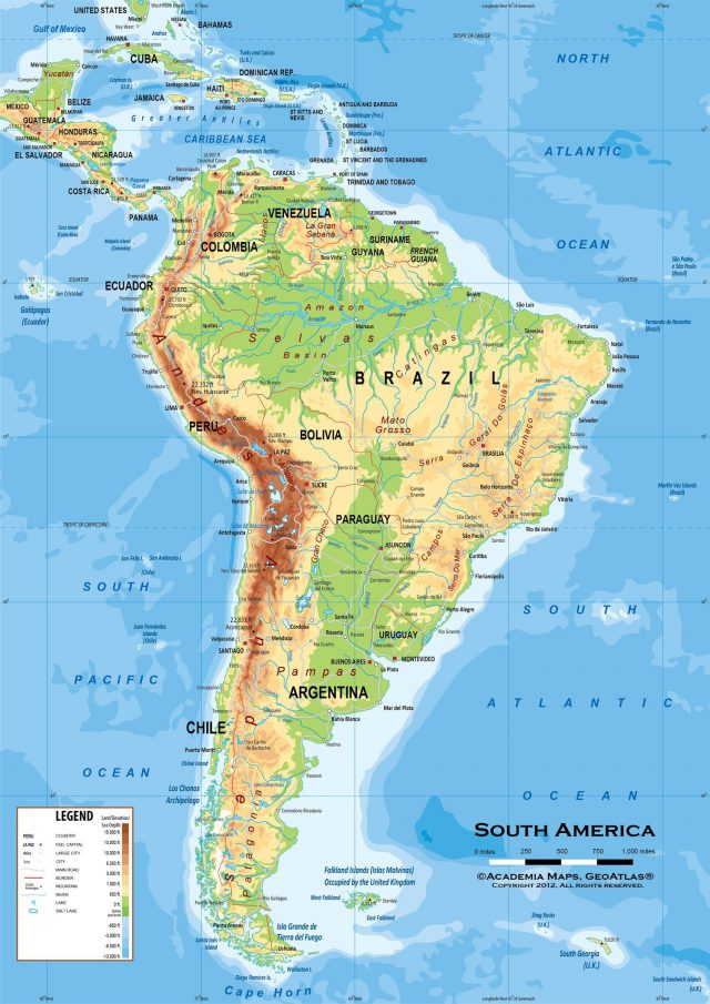Latin America Physical Map