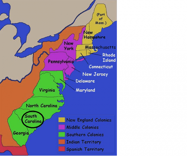 Map Of 13 Colonies